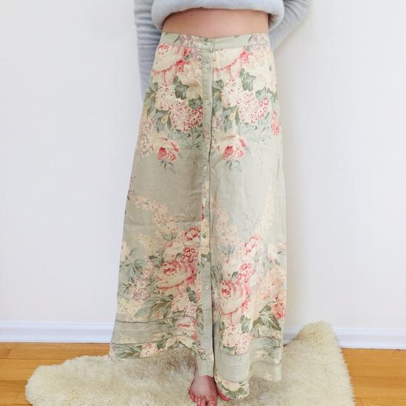Floral Linen Maxi Beautiful Skirt Lauren Ralph 8wOXn0PkN